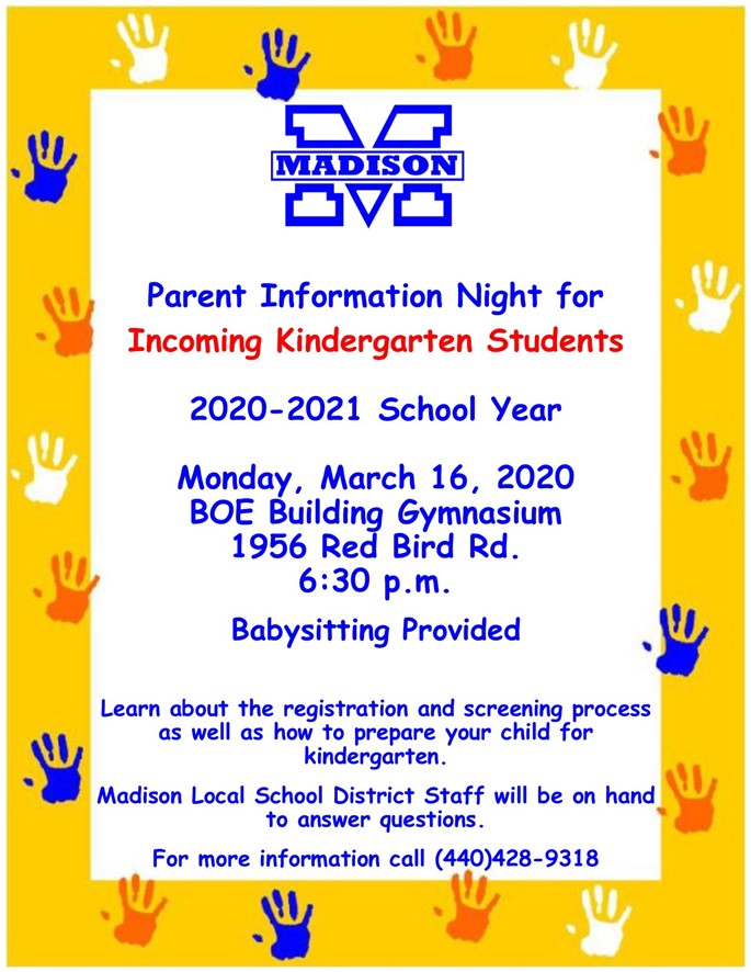Parent Info for Incoming Kindergarten Students