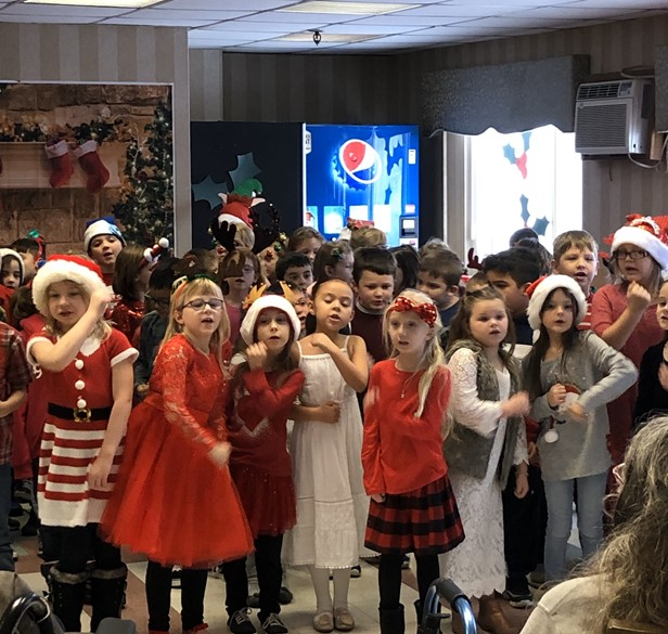Elementary students at holiday party